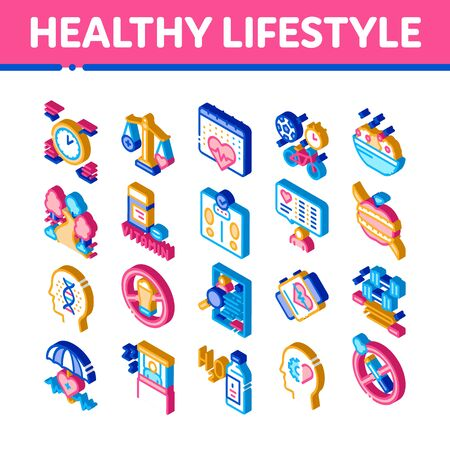 Healthy Lifestyle Icons Set Vector. Isometric Healthy Food Dish And Vitamin Pills, Sport And Walking, Non-alcohol And Non-smoking Illustrations