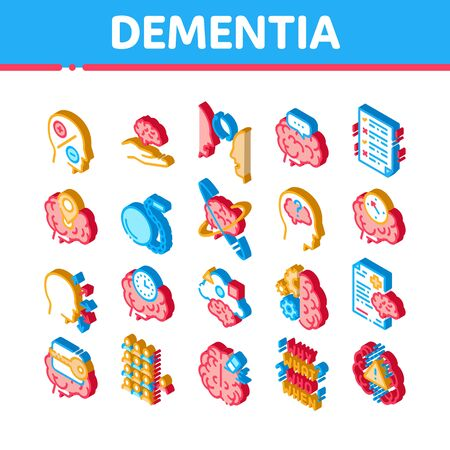 Dementia Brain Disease Icons Set Vector. Isometric Dementia Mind Degenerative Illness, Memory Loss And Poor Speech Pronunciation Illustrations