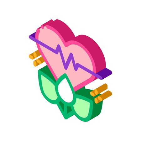 plant for restoration of heart icon vector. isometric plant for restoration of heart sign. color isolated symbol illustration