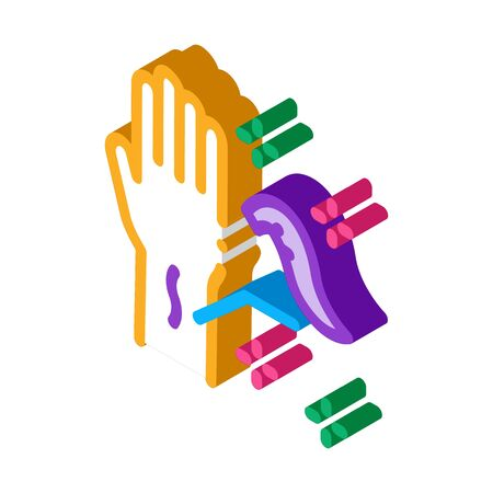 application of leeches on arm icon vector. isometric application of leeches on arm sign. color isolated symbol illustration