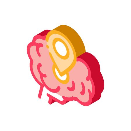 dementia brain location gps sign icon vector. isometric dementia brain location gps sign sign. color isolated symbol illustration
