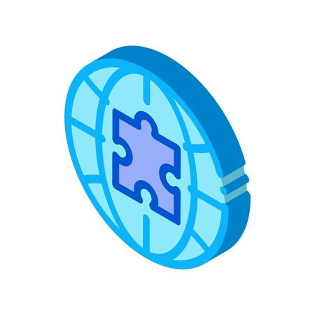 globe puzzle piece icon vector. isometric globe puzzle piece sign. color isolated symbol illustration