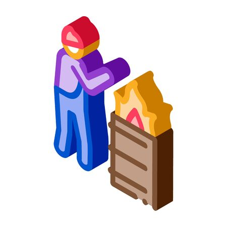 homeless warming flame icon vector. isometric homeless warming flame sign. color isolated symbol illustration