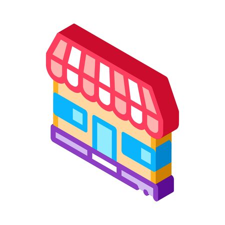 shop store building icon vector. isometric shop store building sign. color isolated symbol illustration