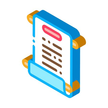 scroll of paper icon vector. isometric scroll of paper sign. color isolated symbol illustration  イラスト・ベクター素材