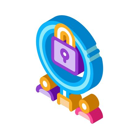 closure of knowledge for research icon vector. isometric closure of knowledge for research sign. color isolated symbol illustration