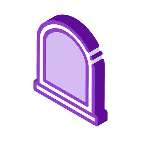 arcuate window icon vector. isometric arcuate window sign. color isolated symbol illustration