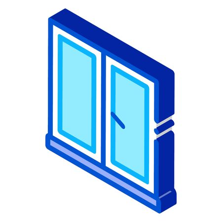 two-half window icon vector. isometric two-half window sign. color isolated symbol illustration 向量圖像