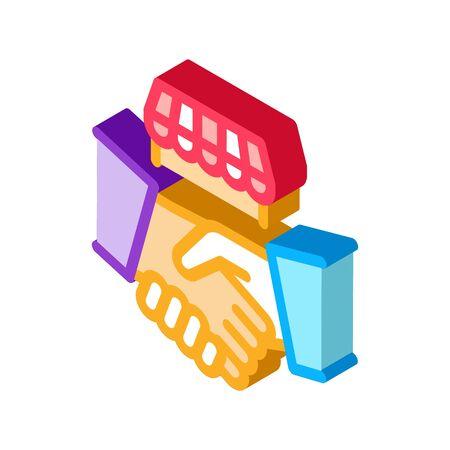 franchise handshake icon vector. isometric franchise handshake sign. color isolated symbol illustration