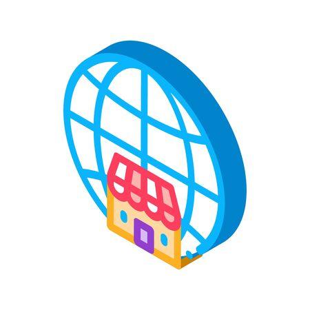 worldwide franchise icon vector. isometric worldwide franchise sign. color isolated symbol illustration