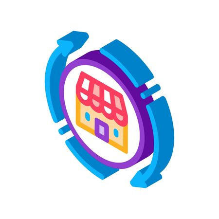 shop building round arrows icon vector. isometric shop building round arrows sign. color isolated symbol illustration