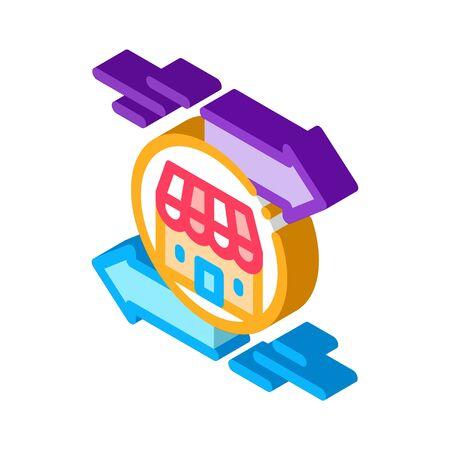 shop building arrows icon vector. isometric shop building arrows sign. color isolated symbol illustration