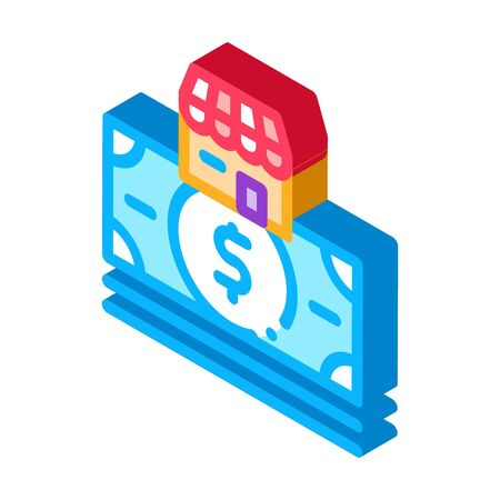 shop building and dollar banknote icon vector. isometric shop building and dollar banknote sign. color isolated symbol illustration
