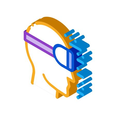 projecting reality through special glasses icon vector. isometric projecting reality through special glasses sign. color isolated symbol illustration Illustration