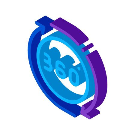 360 degree view icon vector. isometric 360 degree view sign. color isolated symbol illustration