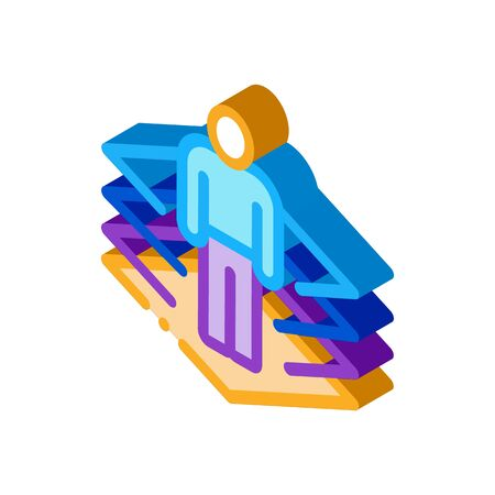 transfer of man into virtuality icon vector. isometric transfer of man into virtuality sign. color isolated symbol illustration