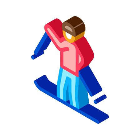 skier skiing icon vector. isometric skier skiing sign. color isolated symbol illustration Ilustrace