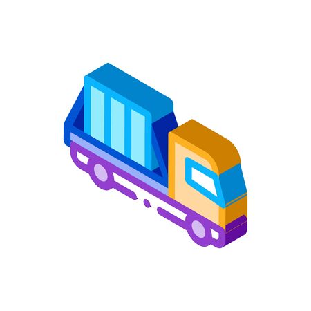 glass transportation truck icon vector. isometric glass transportation truck sign. color isolated symbol illustration 向量圖像