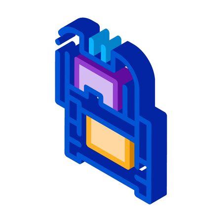 protective case window glass icon vector. isometric protective case window glass sign. color isolated symbol illustration