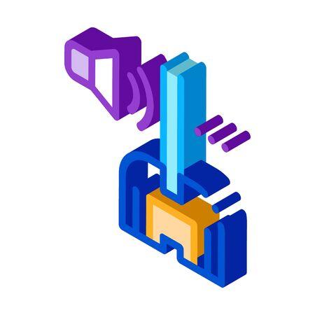 soundproof window glass icon vector. isometric soundproof window glass sign. color isolated symbol illustration