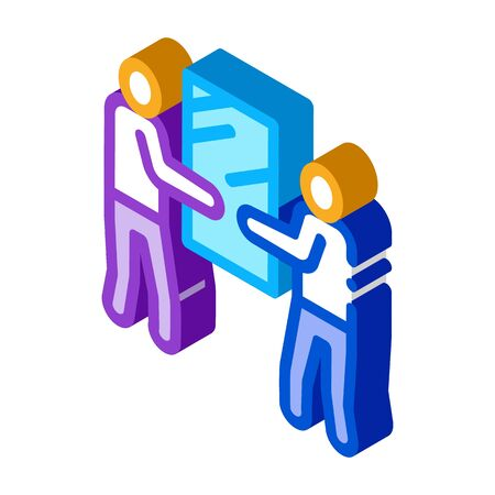 people holding glass icon vector. isometric people holding glass sign. color isolated symbol illustration 向量圖像