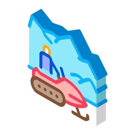 snowmobile winter transport icon vector. isometric snowmobile winter transport sign. color isolated symbol illustration