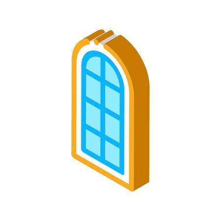 arched window consisting of square glasses icon vector. isometric arched window consisting of square glasses sign. color isolated symbol illustration 向量圖像