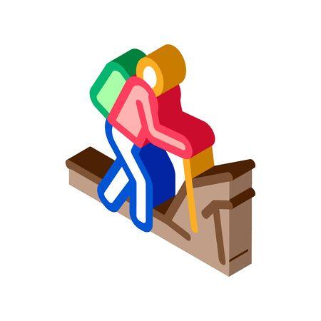 human hiking icon vector. isometric human hiking sign. color isolated symbol illustration Illustration