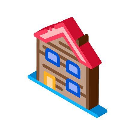 ski resort cabin building icon vector. isometric ski resort cabin building sign. color isolated symbol illustration
