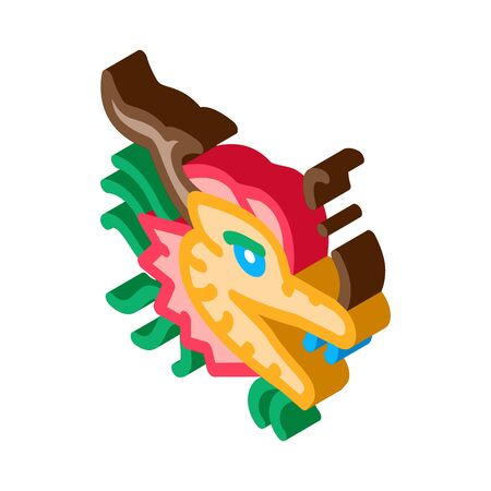mask of chinese dragon icon vector. isometric mask of chinese dragon sign. color isolated symbol illustration
