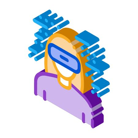 woman wearing virtual reality glasses icon vector. isometric woman wearing virtual reality glasses sign. color isolated symbol illustration