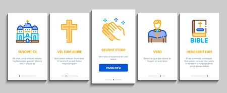 Church Christianity On boarding Mobile App Page Screen Vector. Church Building And Interior, Christian Religion Bible And Cross, Candles And Bell Color Illustrations