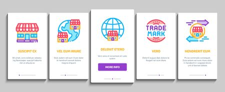 Franchise Business On boarding Mobile App Page Screen Vector. Franchise And Trade Mark, Wide world Branches And Dollar, Handshake And Contract Color Illustrations
