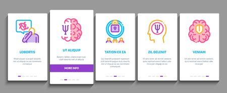 Psychotherapy Help On boarding Mobile App Page Screen Vector. Handshake And Brain, Psychotherapist And Patient, Psychotherapy Treatment Color Illustrations