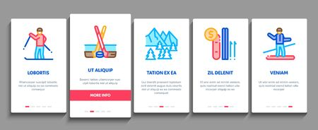 Ski Resort Vacation Onboarding Mobile App Page Screen Vector. Ski Snow Track And Shoe, Protective Glasses And Sled, Chairlift Cableway And Cabin Color Illustrations