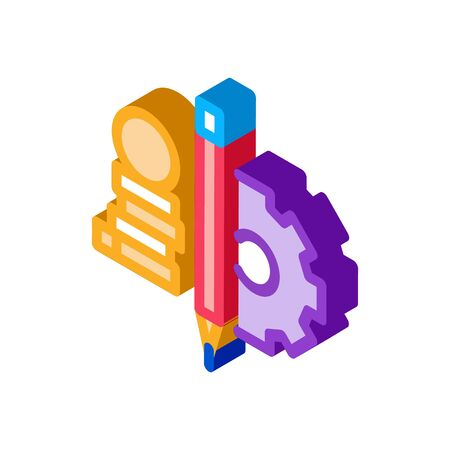 coin heap pen and mechanical gear icon vector. isometric coin heap pen and mechanical gear sign. color isolated symbol illustration