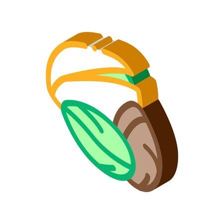 pistachio nut icon vector. isometric pistachio nut sign. color isolated symbol illustration