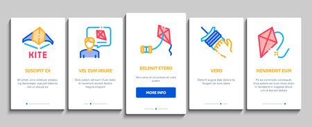 Kite Flying Air Toy Onboarding Mobile App Page Screen Vector. Kite Wind Tool In Different Form, Instruction Information List For Construction Color Illustrations