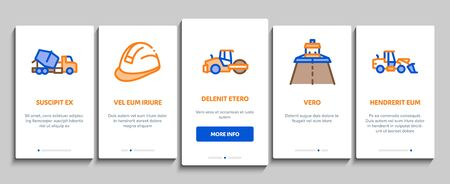 Road Repair And Construction Onboarding Mobile App Page Screen Vector. Road Repair And Maintenance Equipment, Builder Protect Helmet And Cart, Bulldozer And Truck Color Illustrations