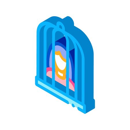 woman in cage icon vector. isometric woman in cage sign. color isolated symbol illustration