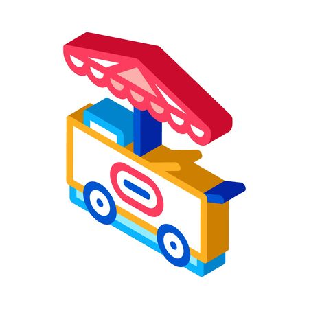 ice cream cart icon vector. isometric ice cream cart sign. color isolated symbol illustration