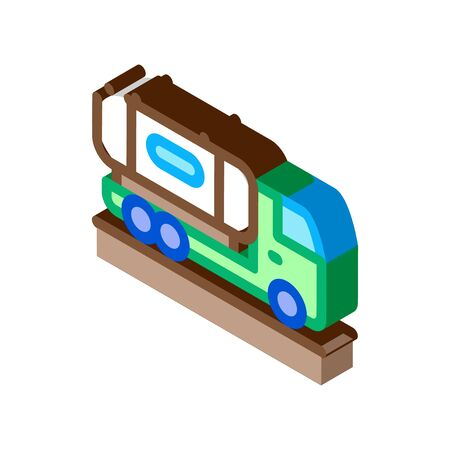 juice concentrate delivering truck icon vector. isometric juice concentrate delivering truck sign. color isolated symbol illustration