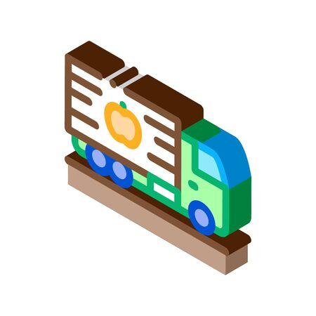 fruit delivering cargo icon vector. isometric fruit delivering cargo sign. color isolated symbol illustration