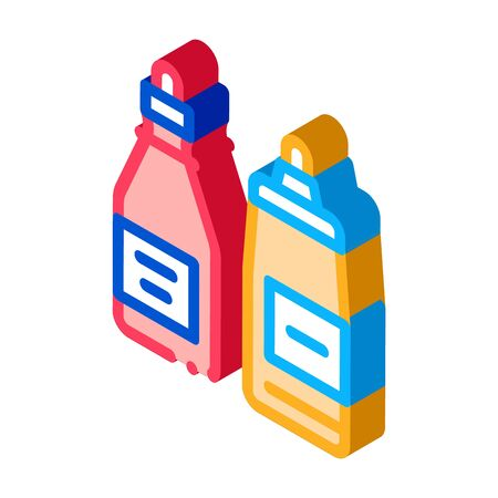 ketchup and mayonnaise sauce bottles icon vector. isometric ketchup and mayonnaise sauce bottles sign. color isolated symbol illustration