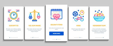 Healthy Lifestyle Onboarding Mobile App Page Screen Vector. Healthy Food Dish And Vitamin Pills, Sport And Walking, Non-alcohol And Non-smoking Color Illustrations