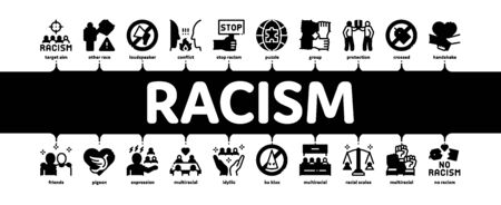 Racism Discrimination Minimal Infographic Web Banner Vector. Stop Racism Nameplate And Label, Scale And Loudspeaker, Pigeon And Handshake Illustration Ilustrace