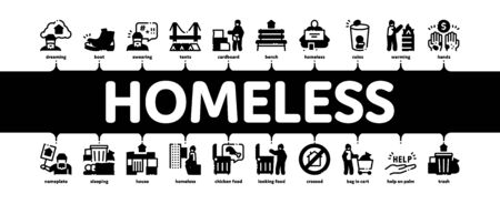 Homeless Beggar People Minimal Infographic Web Banner Vector. Homelessness And Shoe, Living On Streets Poor Human, Trash And Abandon Illustration