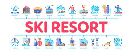 Ski Resort Vacation Minimal Infographic Web Banner Vector. Ski Snow Track And Shoe, Protective Glasses And Sled, Chairlift Cableway And Cabin Illustration