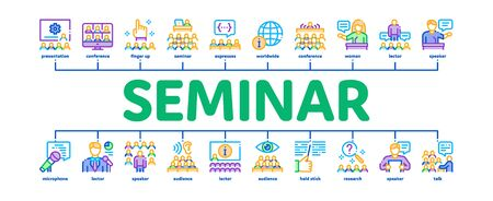 Seminar Conference Minimal Infographic Web Banner Vector. Seminar In Meeting Room, Online Communication And Presentation, Speaker And Lector Illustration
