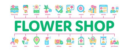 Flower Shop Boutique Minimal Infographic Web Banner Vector. Flower Store Building And Delivery, Floral Present And Vase, Internet Web Site And Bag Illustration